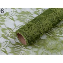 Dekoračná čipka šírka 48 cm zelené papradie 4m Stoklasa