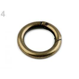 Karabína okrúhla na kabelky / krúžok na kľúče Ø25 mm staromosadz 1ks Stoklasa