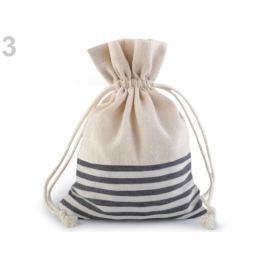 Ľanové vrecko s prúžkami 13x18 cm šedá 1ks Stoklasa