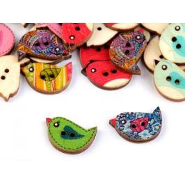 Drevený dekoračný gombík vtáčik Stoklasa