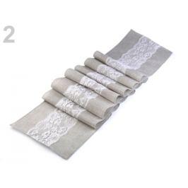 Behúň / obrus s čipkou 30x275 cm šedá najsv. 1ks Stoklasa