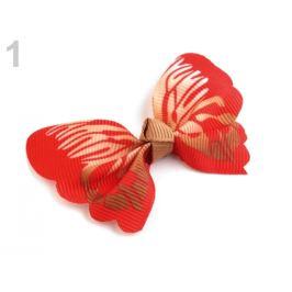 Textilná aplikácia / nášivka 3D motýľ červená rumelka 2ks Stoklasa