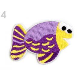 Nažehlovačka vyšívaná ryby fialová lila 10ks Stoklasa