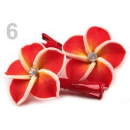 Vlasová sponka s fimo kvetom červená 1pár Stoklasa