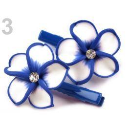 Vlasová sponka s fimo kvetom modrá královská 12pár Stoklasa