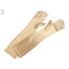 Dlhé spoločenské rukavice saténové zlatá svetlá 1pár Stoklasa
