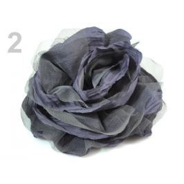 Brošňa  / ozdoba ruža Ø14 cm šedá 4ks Stoklasa