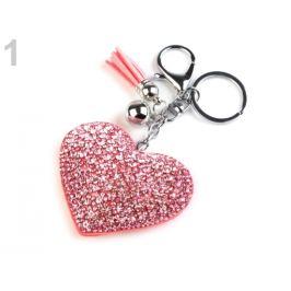 Prívesok na kabelku / kľúče srdce pudrová 1ks Stoklasa