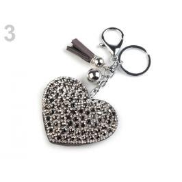 Prívesok na kabelku / kľúče srdce crystal 1ks Stoklasa