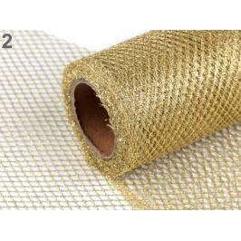 Svadobná dekoračná stuha / sieťka s lurexom šírka 15 cm zlatá svetlá 4.5m Stoklasa