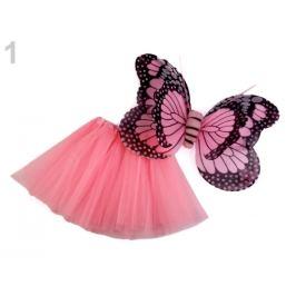 Karnevalový kostým - motýľ ružová sv. 1sada Stoklasa