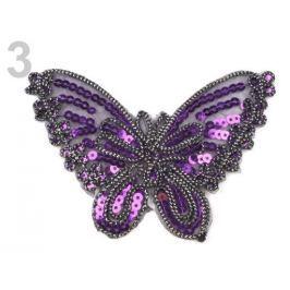 Nažehlovačka motýľ s flitrami modrofialová 10ks Stoklasa