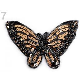 Nažehlovačka motýľ s flitrami zlatá 10ks Stoklasa