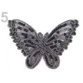 Nažehlovačka motýľ s flitrami čierna 100ks Stoklasa