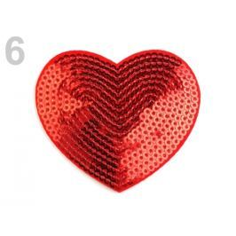 Nažehlovačka srdce s flitrami červená 10ks Stoklasa