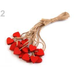 Drevené srdce s motúzikom červená 16ks