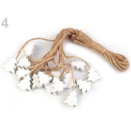 Drevená vločka, stromček, hviezda, zvonček s motúzikom biela prírodná 16ks
