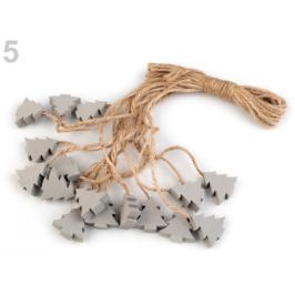 Drevená vločka, stromček, hviezda, zvonček s motúzikom šedá holubia 16ks