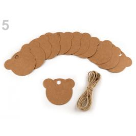 Visačka / menovka s jutovým povrázkom stromček, srdce, medveď, koliečko hnedá prírodná 1sáčok Stoklasa