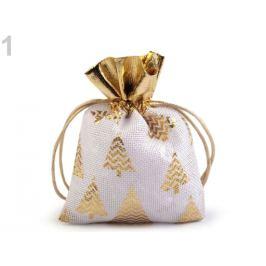 Darčekové vrecko 10x13 cm imitácia juty biela 1ks Stoklasa