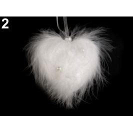 Svadobné pierkové srdce s perlami biela 2ks Stoklasa