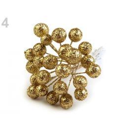 Vianočné dekoračné guľky s glitrami a drôtikom Ø12 mm zlatá 24ks