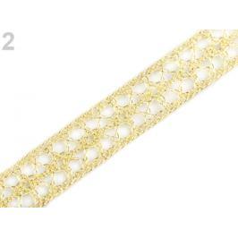 Čipka / vsadka šírka 13 mm zlatá svetlá 13.5m Stoklasa