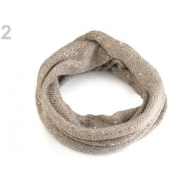 Pletený nákrčník s flitrami Capu béžová 1ks