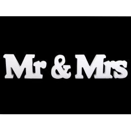 Drevená  dekorácia Mr a Mrs biela 1sada Stoklasa