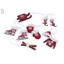 Vianočné dekorácie - sane, lyže, korčule, rukavice, čiapky, bundy, ponožky bordó 6ks