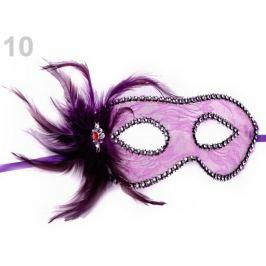 Karnevalová maska - škraboška čipka s perím fialová lila 1ks Stoklasa
