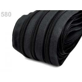 Zips špirálový šírka 5 mm metráž pre bežce typu BX čierna 25m