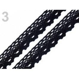 Čipka bavlnená šírka  28 mm paličkovaná Black 27m Stoklasa