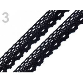 Čipka bavlnená šírka  28 mm paličkovaná Black 189m Stoklasa