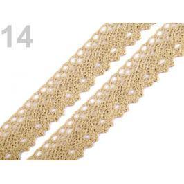 Čipka bavlnená šírka  28 mm paličkovaná Prairie Sand 189m Stoklasa