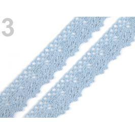 Čipka bavlnená šírka 25 mm paličkovaná Cloud Blue 135m Stoklasa
