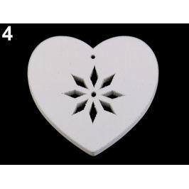 Drevený snehuliak, sob, anjel, srdce biela 6ks Stoklasa