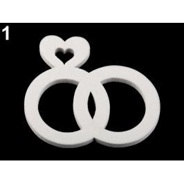Drevené svadobné srdce, prstienky, hrdlička biela 8ks Stoklasa