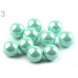 Dekoračné guľky / perly bez dierok Ø10 mm lesklé mint 10ks Stoklasa