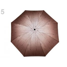 Dámsky skladací dáždnik kvapky hnedá 1ks Stoklasa