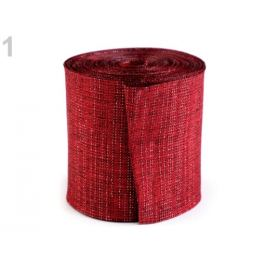 Rezaná stuha s lurexom šírka 60 mm červená karmínová 10m Stoklasa
