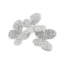 Brošňa / svadobná ozdoba kytica - motýliky crystal 1ks Stoklasa