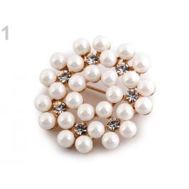 Perlová brošňa / svadobná ozdoba na kytice biela perleť 1ks Stoklasa