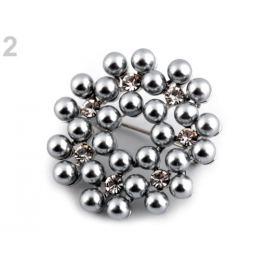 Perlová brošňa / svadobná ozdoba na kytice šedá perlovo 1ks Stoklasa