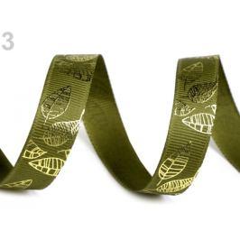 Rypsová stuha šírka 15 mm s listami zelená 22.5m Stoklasa