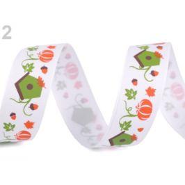 Rypsová stuha halloween šírka 25 mm biela 22.5m Stoklasa