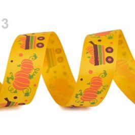 Rypsová stuha halloween šírka 25 mm žltá 22.5m Stoklasa