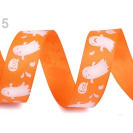 Rypsová stuha halloween šírka 25 mm oranžová   22.5m Stoklasa