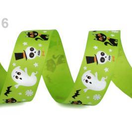 Rypsová stuha halloween šírka 25 mm zelená sv. 22.5m Stoklasa
