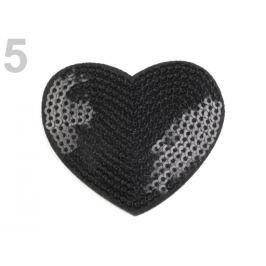 Nažehlovačka  srdce s flitrami čierna 100ks Stoklasa
